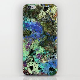 Deep In Thought - Black, blue, purple, white, abstract, acrylic paint splatter artwork iPhone Skin