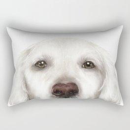 Golden Retriever White Rectangular Pillow