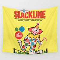 climbing Wall Tapestries featuring Clown Climbing by Ceskus