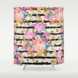 Elegant spring flowers and stripes design Shower Curtain