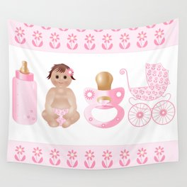 Baby Pink, Baby Girl, Pink Bottle, Bottle, Pink Pacifier, Pacifier, Pink Pram, Pram Wall Tapestry