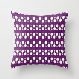 Purple Wine Glass Stripes Pattern Throw Pillow