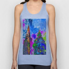 pyramid building and classic building exterior at San Francisco, USA with colorful painting abstract Unisex Tank Top