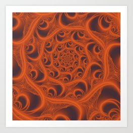 Fractal Web in Halloween Orange Art Print