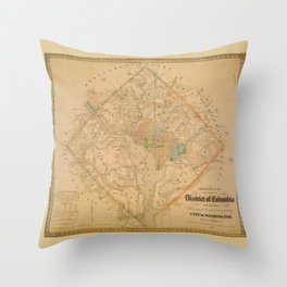 Civil War Washington D.C. Map Throw Pillow