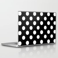 polka dots Laptop & iPad Skins featuring Polka Dots (White/Black) by 10813 Apparel