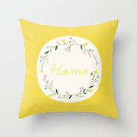 home sweet home Throw Pillows featuring Home by Babiole Design