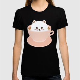 Cute Kawai cat in pink cup T-shirt
