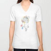 birthday V-neck T-shirts featuring birthday by Cassidy Rae Marietta