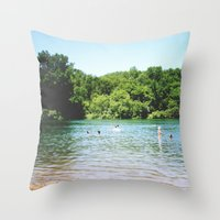 swim Throw Pillows featuring Swim by Christine Hall