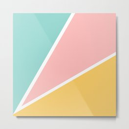 Tropical summer pastel pink turquoise yellow color block geometric pattern Metal Print