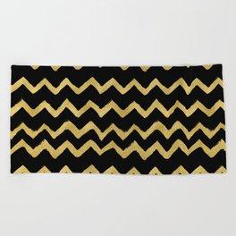 Golden Chevron Black Background Beach Towel