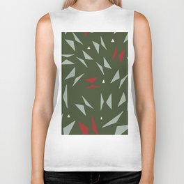 Geometric forest green red hand painted triangles Biker Tank