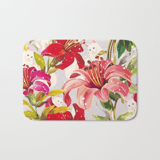 Patron flowers and cats Bath Mat