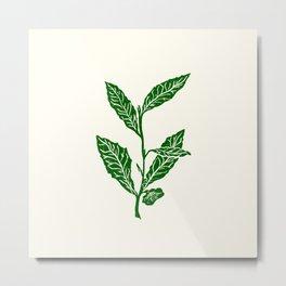 Green Tea Leaf Block Print Metal Print