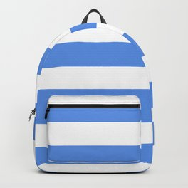 United Nations blue - solid color - white stripes pattern Backpack