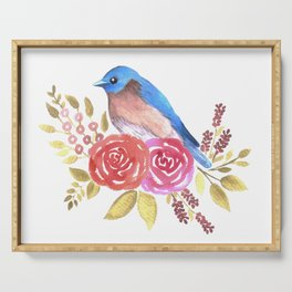 Cute bluebird on red roses Serving Tray