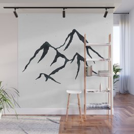MOUNTAINS Black and White Wall Mural