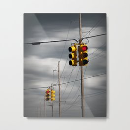 Waiting for the Traffic Light watching Gray Clouds flow by Metal Print