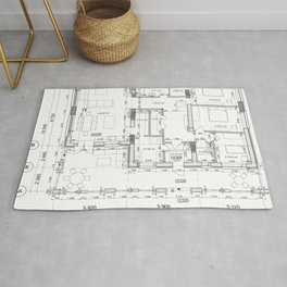 Detailed architectural private house floor plan, apartment layout, blueprint. Vector illustration Rug