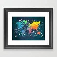 Ocean World Map color Framed Art Print