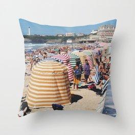 Biarritz Beach Tents Throw Pillow