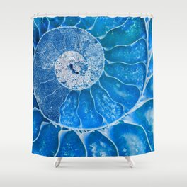 Blue colored Ammonite fossil Shower Curtain