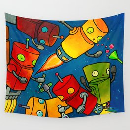 Robot - Robot Party 2 (Zero Gravity) Wall Tapestry