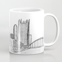 pittsburgh Mugs featuring Pittsburgh Skyline  by Pineapple Street Designs