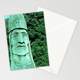 Whispering Giants, Native American Sculpture, Wood Carving, Portrait Stationery Cards