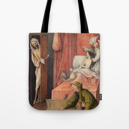 """Hieronymus Bosch """"Death and the Miser"""" Tote Bag"""