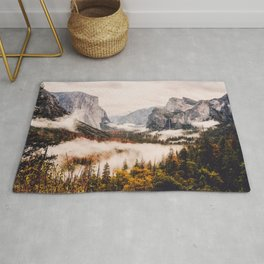Amazing Yosemite California Forest Waterfall Canyon Rug