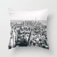 new york skyline Throw Pillows featuring New York City Skyline by Vivienne Gucwa