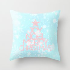 Joy,Noel,Merry Christmas and Star pattern - pink on aqua Throw Pillow