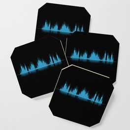 Cool Blue Graphic Equalizer Music on black Coaster