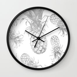grayscale pineapple pattern, vintage tropical desing Wall Clock