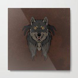 Tribal Werewolf Metal Print