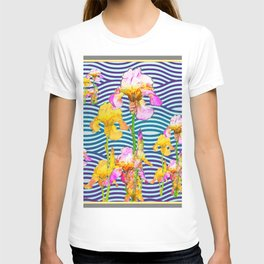 Colorful Iris Water Garden Art Pattern T-shirt