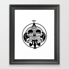 skull and pen Framed Art Print