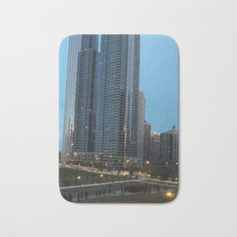 Chicago Skyline, Skyscrapers, Sunset Bath Mat