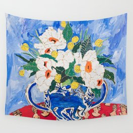 Queen of California - Giant Matilija Poppy Bouquet in Lion Vase on Blue Wall Tapestry