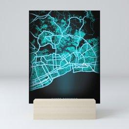 Santo Domingo, Dominican Republic, Blue, White, Neon, Glow, City, Map Mini Art Print