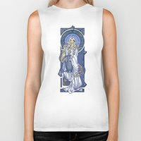 hallion Biker Tanks featuring Galadriel Nouveau by Karen Hallion Illustrations