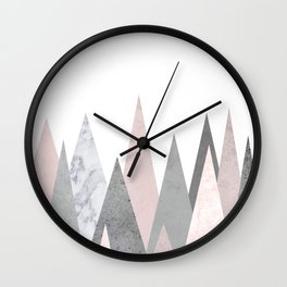 BLUSH MARBLE GRAY GEOMETRIC MOUNTAINS Wall Clock