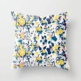 Buttercup yellow, salmon pink, and navy blue flowers on white background pattern Throw Pillow