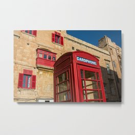 Red telephone cabin in the old town of Vialleta Metal Print