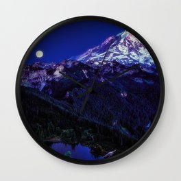 Mt Rainier Sunset and Full Moon 2017 Wall Clock