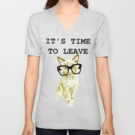 Time To Leave - Ragdoll Cat - Hipster Sass Unisex V-Neck