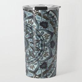 Half Geo-Circle. Grey. Black Background. Travel Mug