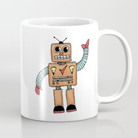 robot Mugs featuring Robot by Lindsay Anne Design